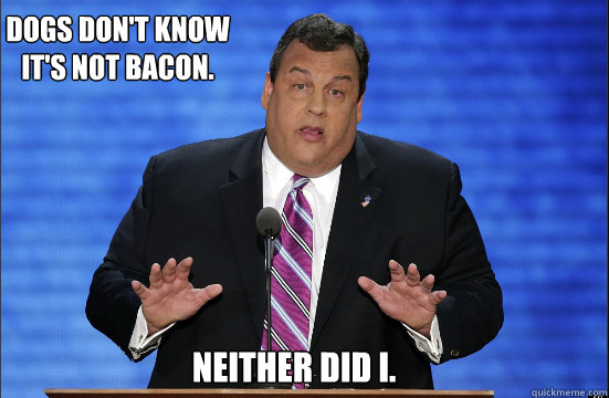 Dogs don't know it's not bacon. Neither did I. - Dogs don't know it's not bacon. Neither did I.  Hypocrite Chris Christie
