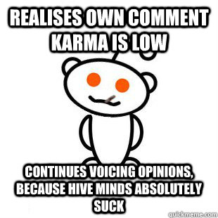 realises own comment karma is low continues voicing opinions, because hive minds absolutely suck