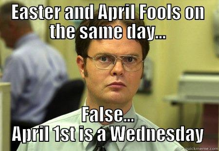 EASTER AND APRIL FOOLS ON THE SAME DAY... FALSE... APRIL 1ST IS A WEDNESDAY Schrute