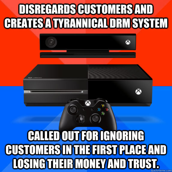 Disregards customers and creates a tyrannical DRM system Called out for ignoring customers in the first place and losing their money and trust.