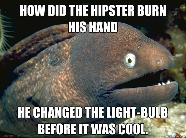 How did the hipster burn  his hand  He changed the light-bulb before it was cool. - How did the hipster burn  his hand  He changed the light-bulb before it was cool.  Bad Joke Eel