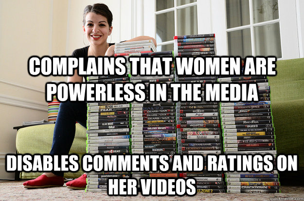 complains that women are powerless in the media disables comments and ratings on her videos