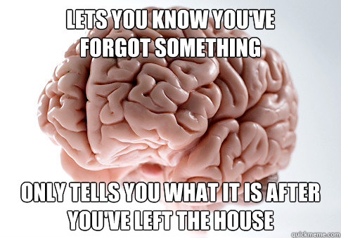 lets you know you've  forgot something only tells you what it is after you've left the house - lets you know you've  forgot something only tells you what it is after you've left the house  Scumbag Brain
