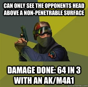 Can only see the opponents head above a non-penetrable surface Damage done: 64 in 3 with an AK/M4A1