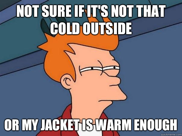 Not sure if it's not that cold outside Or my jacket is warm enough - Not sure if it's not that cold outside Or my jacket is warm enough  Futurama Fry