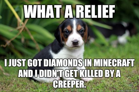 What a relief I just got diamonds in minecraft and I didn't get killed by a creeper.