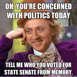 Oh, you're concerned with politics today Tell me who you voted for state senate from memory.    Condescending Wonka