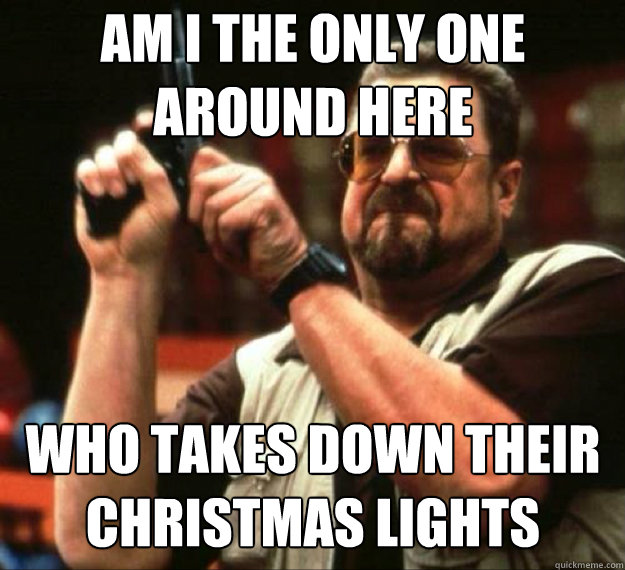 AM I THE ONLY ONE AROUND HERE Who takes down their Christmas lights after New Years? - AM I THE ONLY ONE AROUND HERE Who takes down their Christmas lights after New Years?  AM I THE ONLY ONE AROUND HERE...