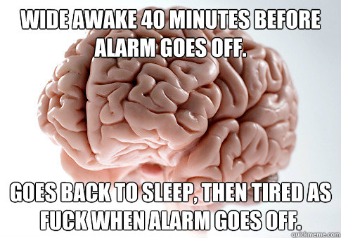 Wide awake 40 minutes before alarm goes off. goes back to sleep, then tired as fuck when alarm goes off. - Wide awake 40 minutes before alarm goes off. goes back to sleep, then tired as fuck when alarm goes off.  Scumbag Brain