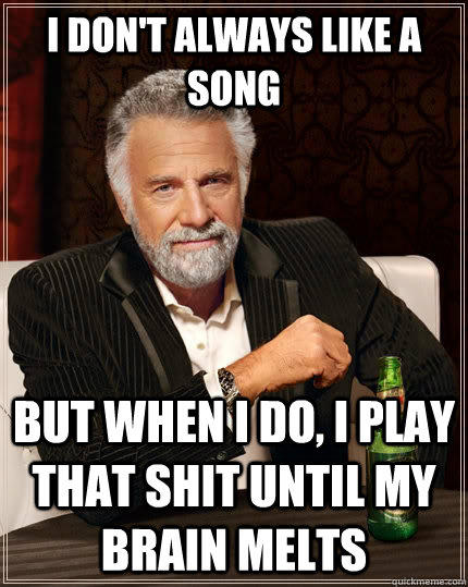 I don't always like a song but when I do, i play that shit until my brain melts - I don't always like a song but when I do, i play that shit until my brain melts  The Most Interesting Man In The World