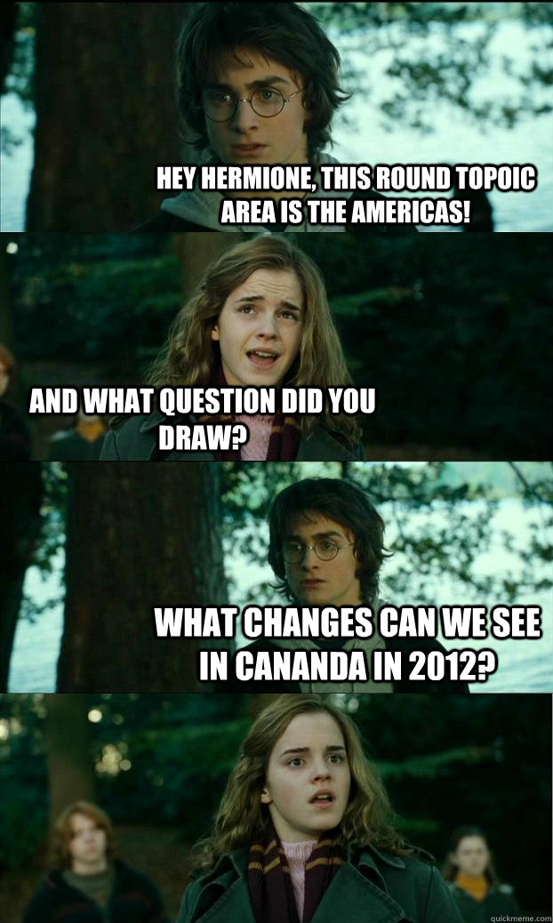 Hey Hermione, This round topoic area is the americas! And what question did you draw? what changes can we see in Cananda in 2012? - Hey Hermione, This round topoic area is the americas! And what question did you draw? what changes can we see in Cananda in 2012?  Horny Harry