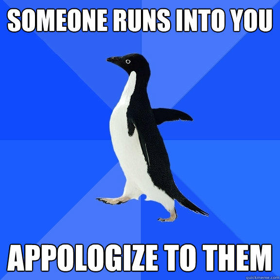 someone runs into you appologize to them - someone runs into you appologize to them  Socially Awkward Penguin