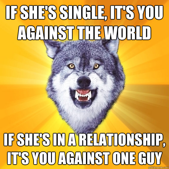 If she's single, it's you against the world If she's in a relationship, it's you against one guy - If she's single, it's you against the world If she's in a relationship, it's you against one guy  Courage Wolf