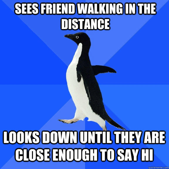 sees friend walking in the distance looks down until they are close enough to say hi - sees friend walking in the distance looks down until they are close enough to say hi  Socially Awkward Penguin