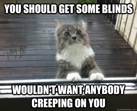 8d4b4eff011e5e09fb754fc366556168e03b8869a0556041db2976b37b041457 you should get some blinds wouldn't want anybody creeping on you