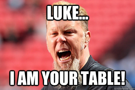 LUKE... I AM YOUR TABLE!