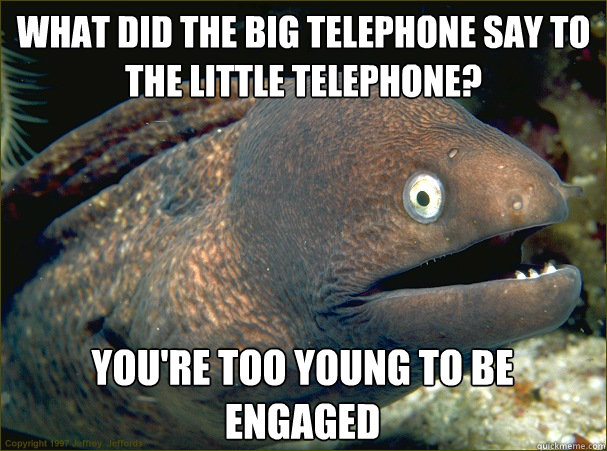 What did the big telephone say to the little telephone? You're too young to be engaged  Bad Joke Eel