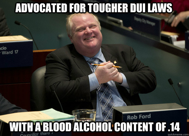 Advocated for tougher DUI laws with a blood alcohol content of .14