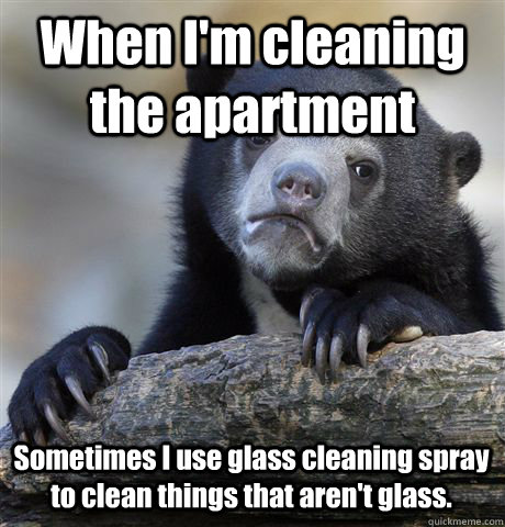 When I'm cleaning the apartment Sometimes I use glass cleaning spray to clean things that aren't glass. - When I'm cleaning the apartment Sometimes I use glass cleaning spray to clean things that aren't glass.  Confession Bear