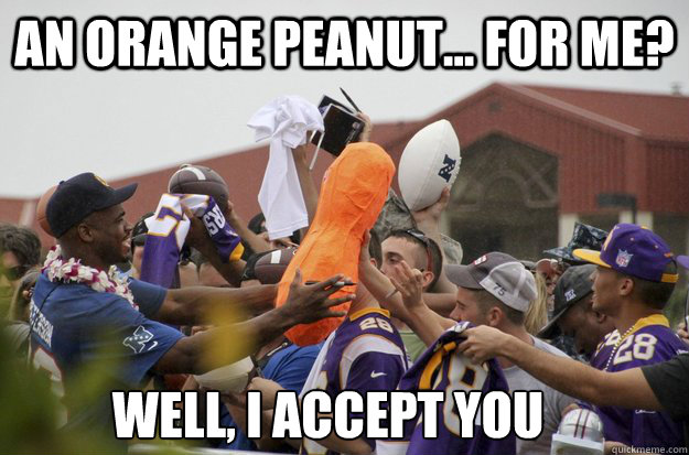 an orange peanut... for me? Well, I accept you - an orange peanut... for me? Well, I accept you  Nfl Bad Lip Reading