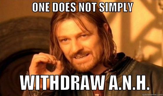 ETHICAL DILEMMAS -                ONE DOES NOT SIMPLY                       WITHDRAW A.N.H.    Boromir
