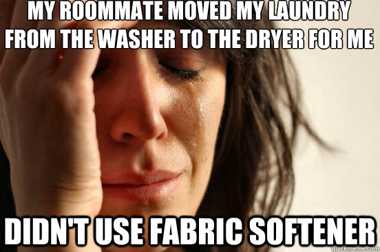 My roommate moved my laundry from the washer to the dryer for me didn't use fabric softener - My roommate moved my laundry from the washer to the dryer for me didn't use fabric softener  First World Problems