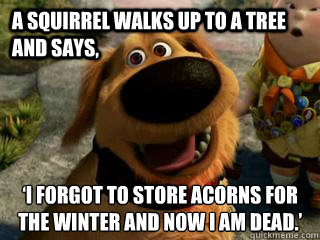 A squirrel walks up to a tree and says, 'I forgot to store acorns for the winter and now I am dead.'