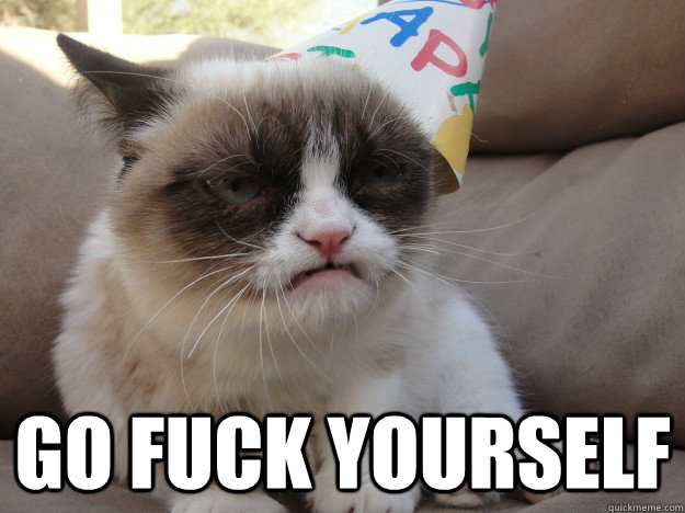 Go Fuck yourself -  Go Fuck yourself  Grumpy Birthday Cat