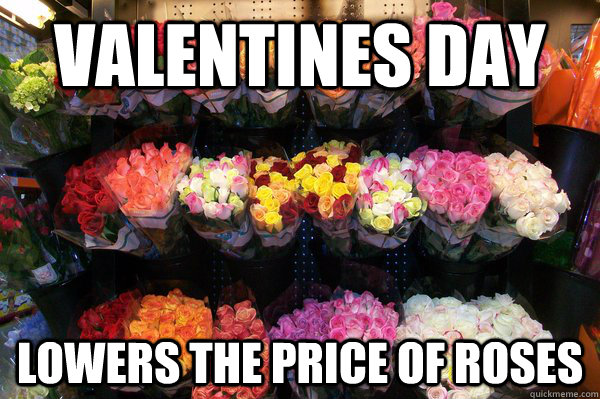 Valentines Day Lowers the price of roses