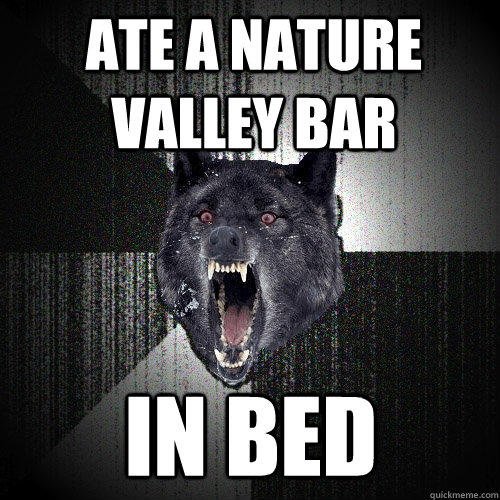 ate a nature valley bar in bed - ate a nature valley bar in bed  Insanity Wolf