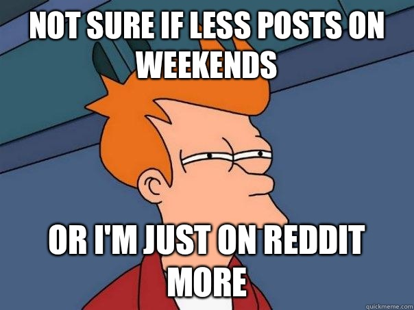 Not sure if less posts on weekends Or i'm just on reddit more - Not sure if less posts on weekends Or i'm just on reddit more  Futurama Fry