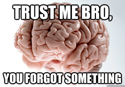 Trust me bro, you forgot something - Trust me bro, you forgot something  Scumbag Brain