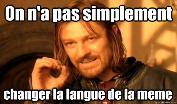 On n'a pas simplement changer la langue de la meme - On n'a pas simplement changer la langue de la meme  One Does Not Simply