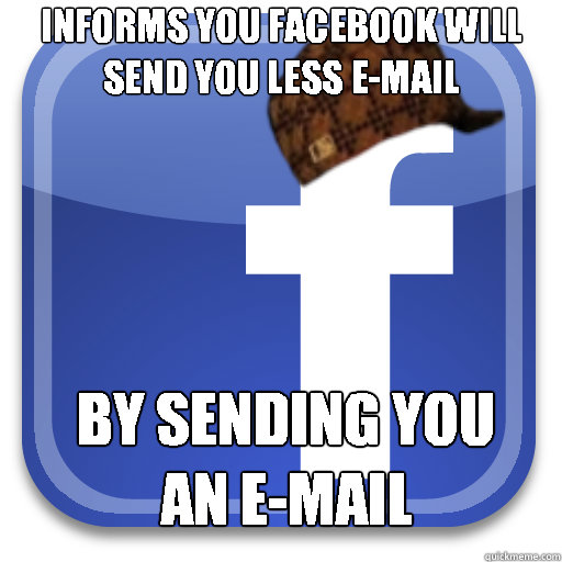Informs you Facebook will send you less e-mail by sending you an e-mail
