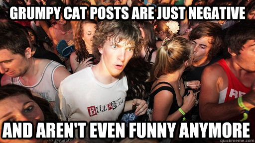Grumpy Cat posts are just negative and aren't even funny anymore  - Grumpy Cat posts are just negative and aren't even funny anymore   Sudden Clarity Clarence