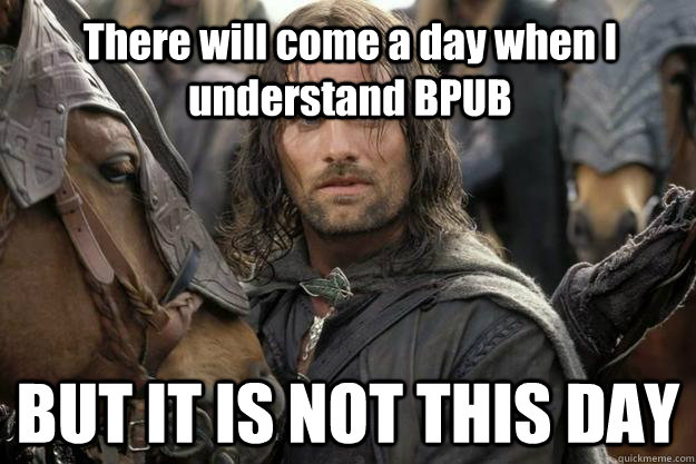 There will come a day when I understand BPUB BUT IT IS NOT THIS DAY