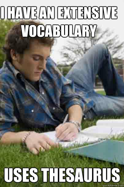I have an extensive vocabulary uses thesaurus  Junior Copywriter