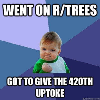 Went on r/trees Got to give the 420th uptoke - Went on r/trees Got to give the 420th uptoke  Success Kid