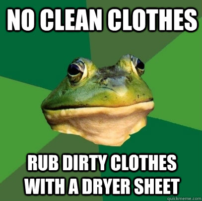 no clean clothes rub dirty clothes with a dryer sheet - no clean clothes rub dirty clothes with a dryer sheet  Foul Bachelor Frog