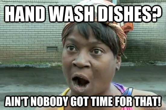 Hand wash dishes? Ain't nobody got time for that!