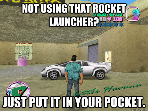 Not using that rocket launcher? Just put it in your pocket.  GTA LOGIC