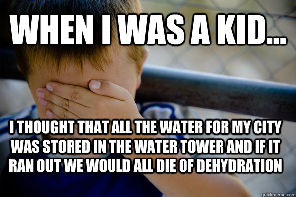 WHEN I WAS A KID... i thought that all the water for my city was stored in the water tower and if it ran out we would all die of dehydration  Confession kid