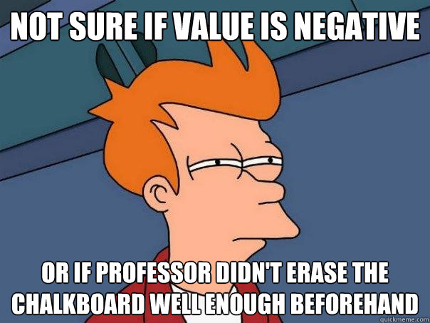 Not sure if value is negative Or if professor didn't erase the chalkboard well enough beforehand  Futurama Fry