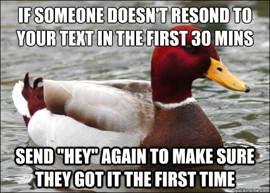 If someone doesn't resond to your text in the first 30 mins  Send
