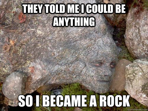 They told me I could be anything so I became a rock