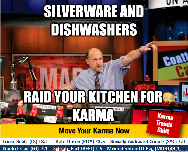 Silverware and Dishwashers Raid your kitchen for karma - Silverware and Dishwashers Raid your kitchen for karma  Jim Kramer with updated ticker