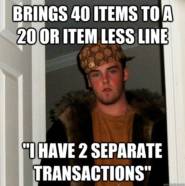 brings 40 items to a 20 or item less line