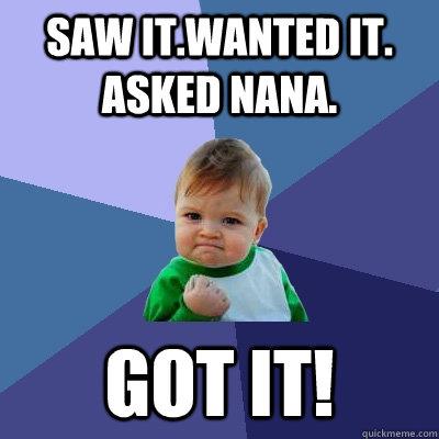 8f1228906940b3cd2116d43931d6b0b084db7b769d28cc7be793f0dda88c01f1 saw it wanted it asked nana got it! success kid quickmeme,Nana Meme