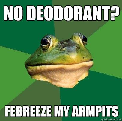 No deodorant? Febreeze my armpits - No deodorant? Febreeze my armpits  Foul Bachelor Frog