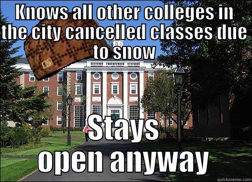 Scumbag university strikes again - KNOWS ALL OTHER COLLEGES IN THE CITY CANCELLED CLASSES DUE TO SNOW STAYS OPEN ANYWAY Scumbag University